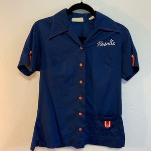 Vintage Woman's Blue Bowling Shirt with Red Butto